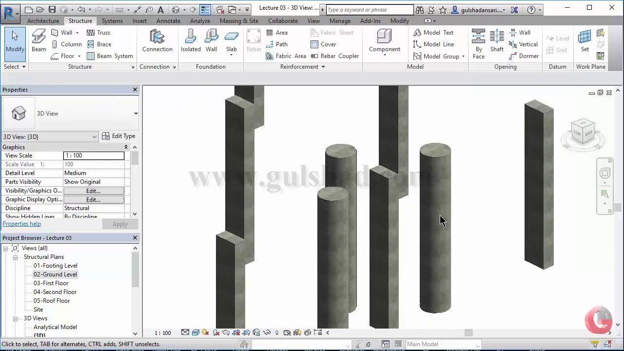 04 Create Concrete Columns Autodesk Revit Structure Full Tutorials Concrete Column Structure Architecture Autodesk Revit