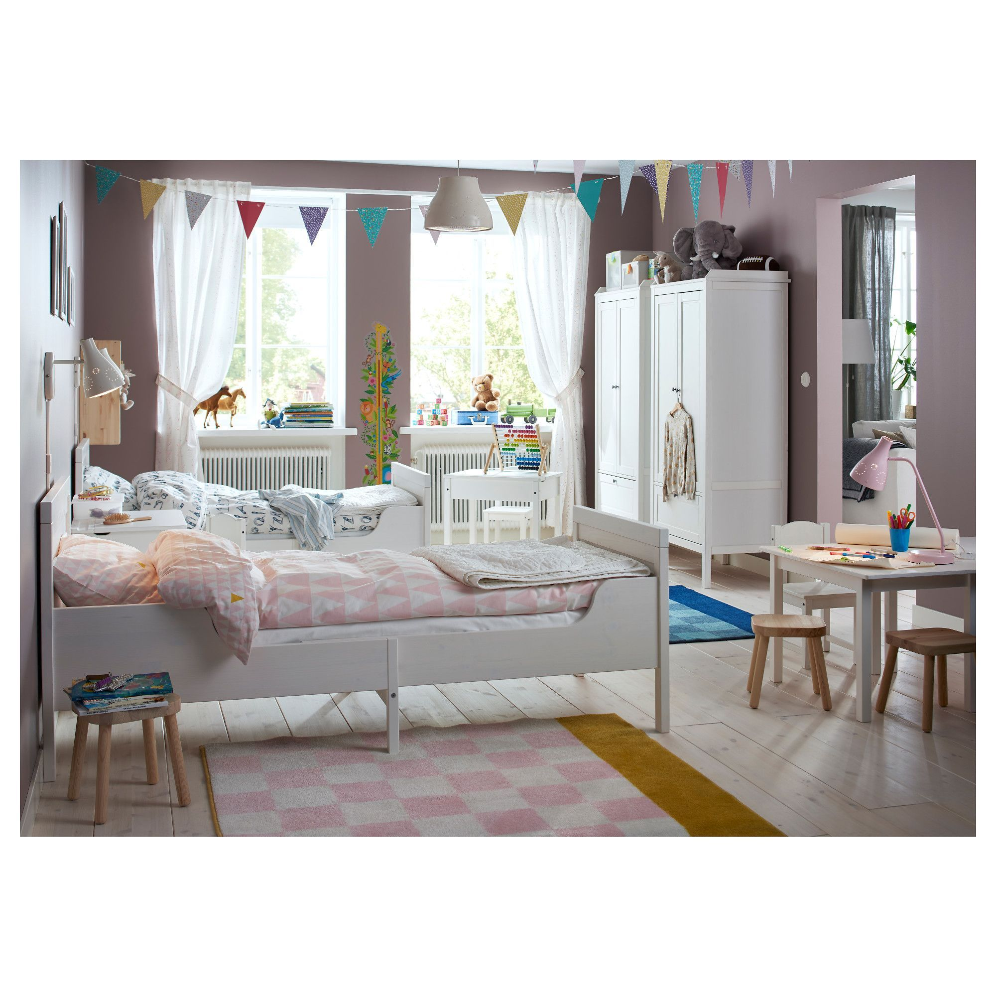 SUNDVIK Ext bed frame with slatted bed base white 38 1