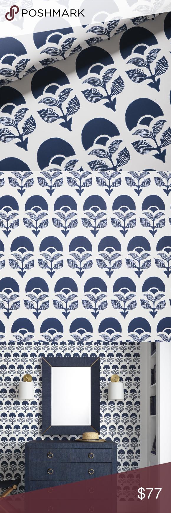 NEW Serena & Lily Larkspur Wallpaper Midnight Blue Retail