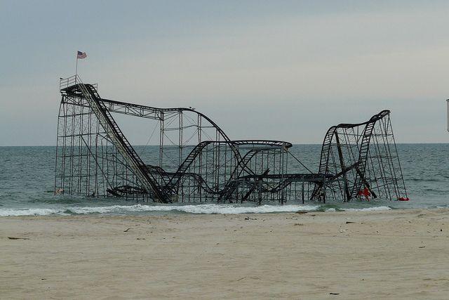 The Jetstar roller coaster that sits in the Atlantic Ocean by Shawn Wainwright, via Flickr   Destroyed by Hurricane Sandy in Seaside Park, NJ