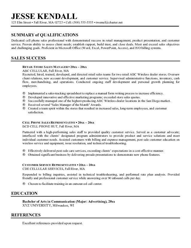 resume examples summary example good with  Resume examples  Sales resume examples Resume
