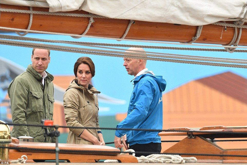The Duke and Duchess of Cambridge on the tall ship, Pacific Grace, before sailing with mem...