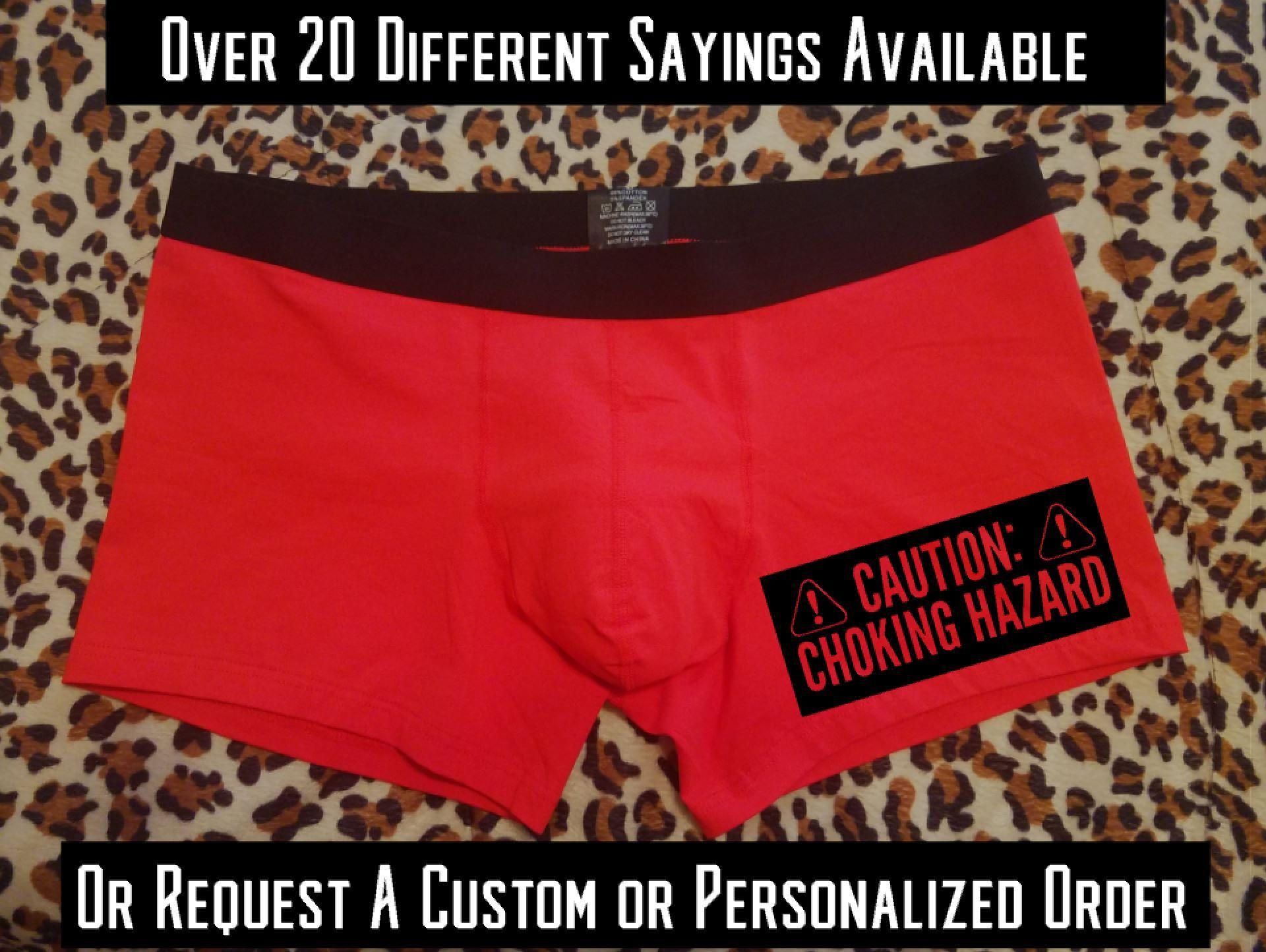 caution choking hazard valentines present for him novelty underwear funny underwear