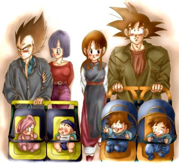Goku and Chi-chi and Vegeta and Bulma.