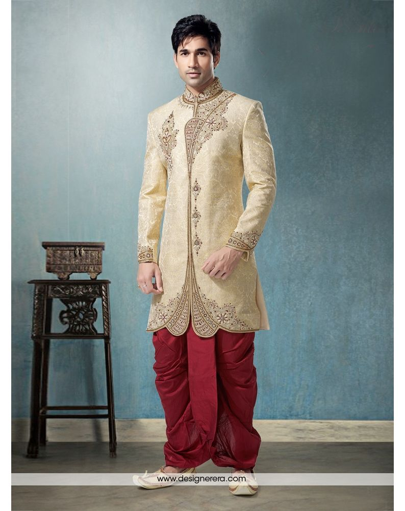 DE Spectacular Cosmic Latte Colored Groom Sherwani Dhoti Suit ...