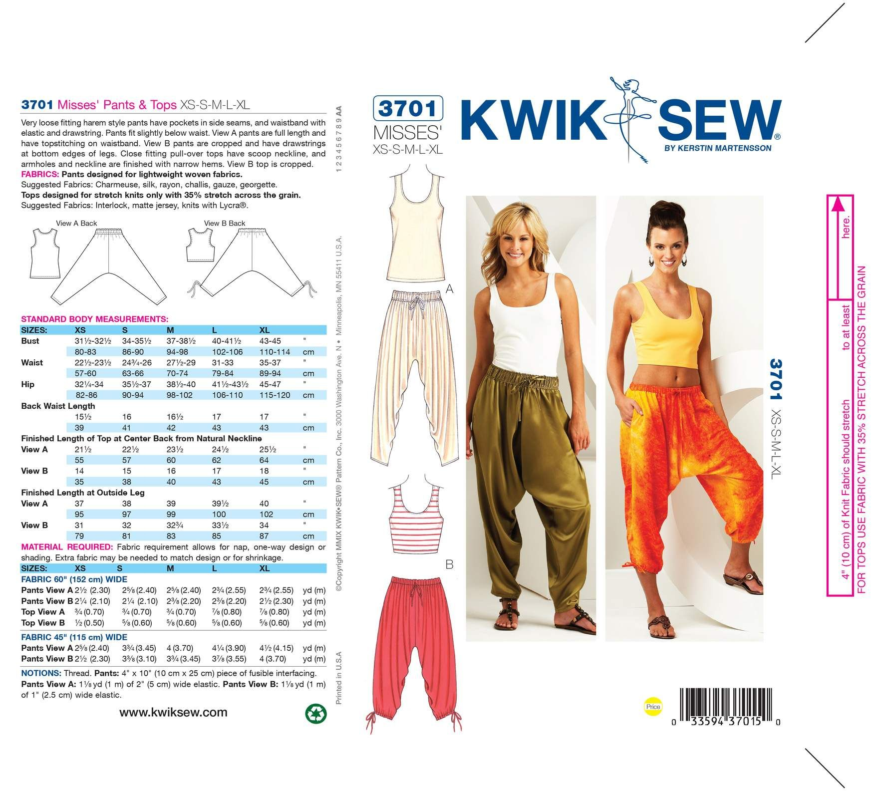 Mccall Pattern K3701 Xs-S-M-L-X-Kwik Sew Pattern | Sewing Patterns ...