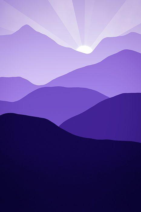 Abstract Purple Minimalist Art Mountains at Sunset by Matthias Hauser