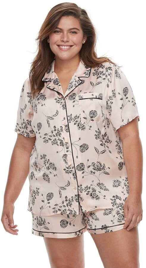 Plus Size Apt. 9® Pajamas  Satin Notch Collar Shirt   Shorts Set ... 94892b04f