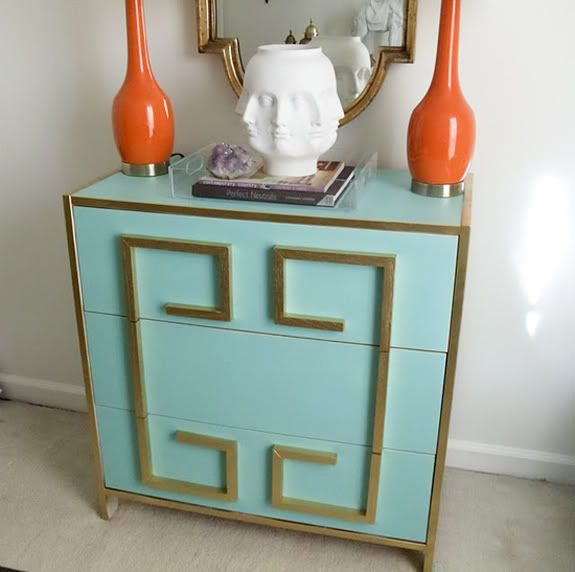 Little Green Notebook: Greek Key Dressers could make if pull hardware off dresser fill holes and paint then add trim