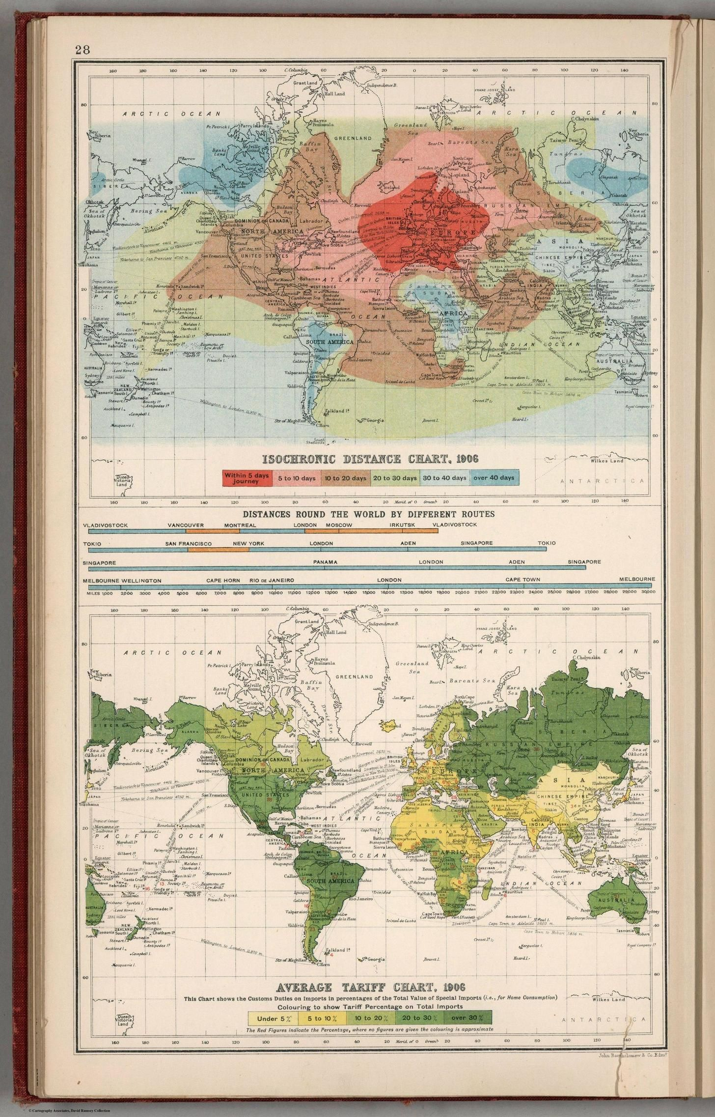 Travel times isochronic distances from london 1906 world maps isochronic distance chart average tariff chart bartholomew j gumiabroncs Choice Image