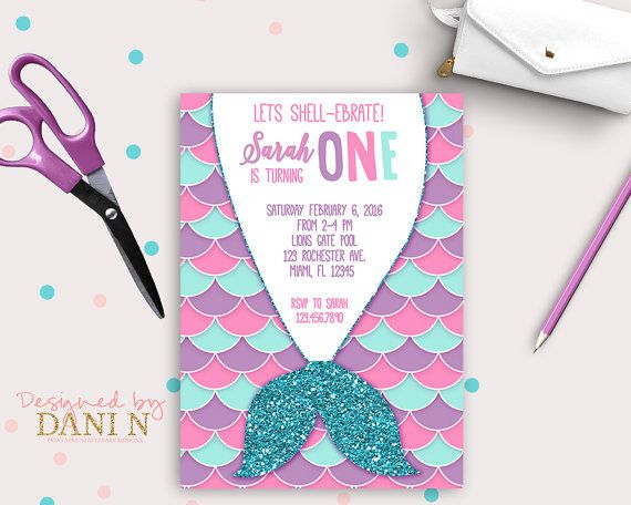mermaid birthday party invitation pool party pink teal and purple, Party invitations