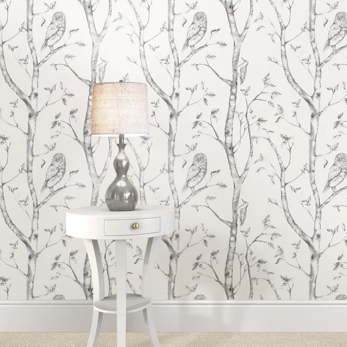 Nuwallpaper 30 75 Sq Ft Grey Vinyl Floral Self Adhesive Peel And Stick Wallpaper Lowes Com In 2021 Grey And White Wallpaper Wood Wallpaper Nuwallpaper