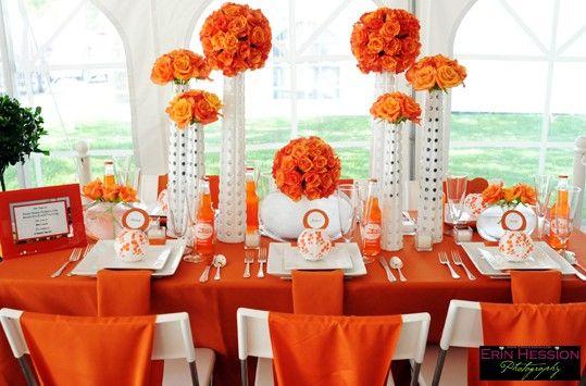 31 Days Of Orange Day 2 Orange And White Party Decor Orange Decor White Party Theme Orange Wedding Decorations