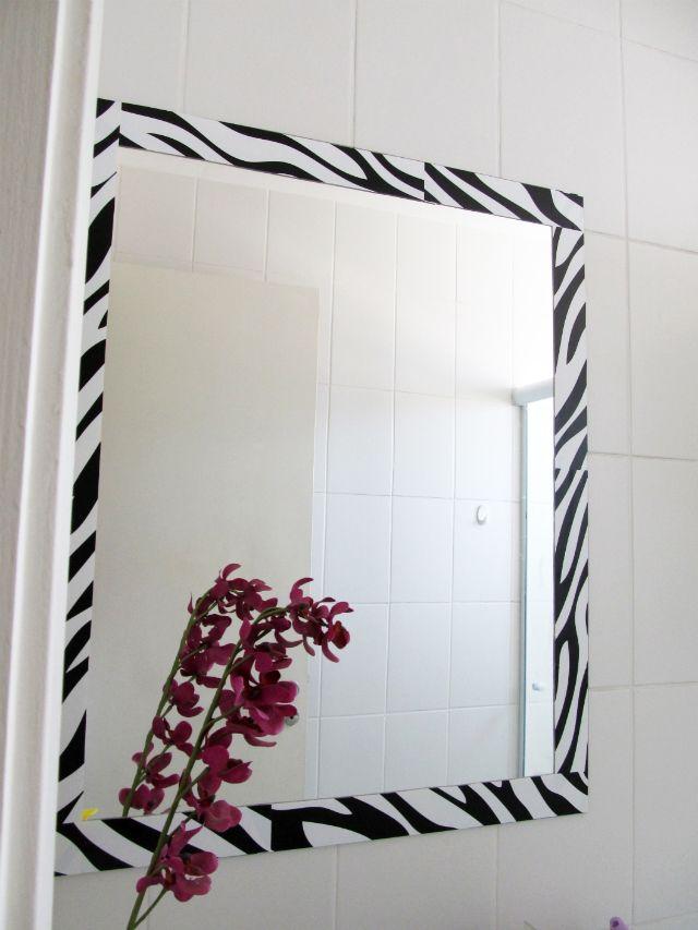 Espelho Reformado Com Papel Contact Moldura De Espelho Molduras
