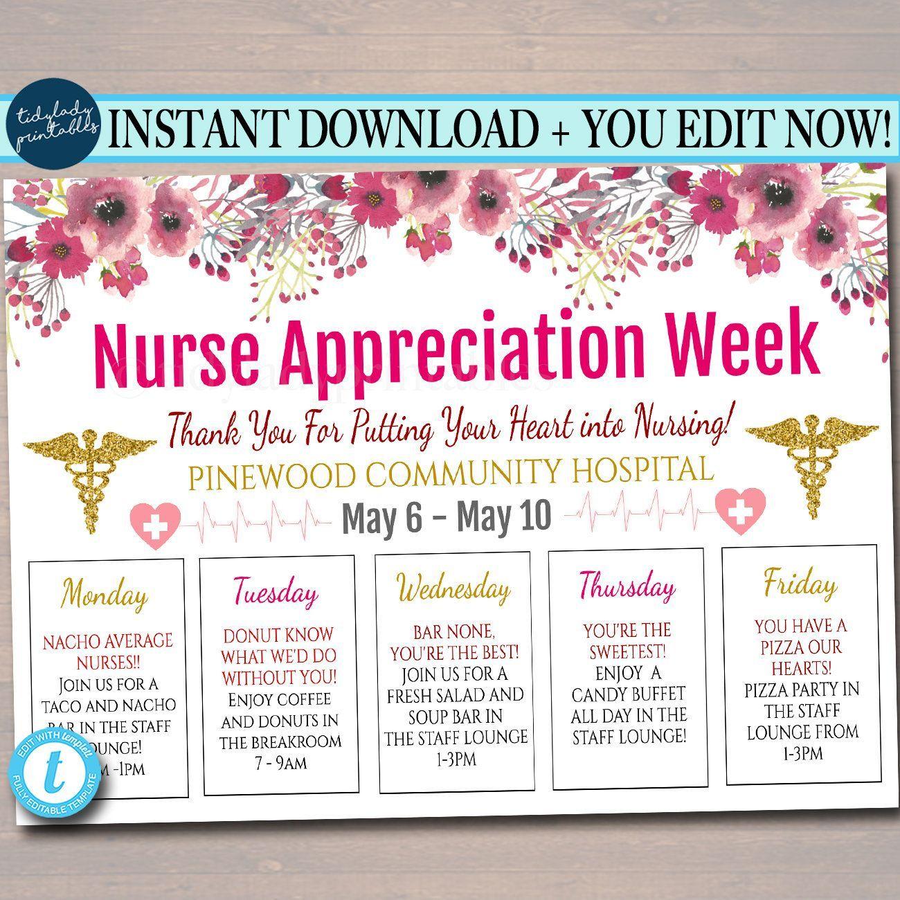 Editable Nurses Appreciation Week Itinerary Poster Heart Medical National Nurses Week Itine Nurse Appreciation Week Nurses Week Gifts Nurse Appreciation Gifts