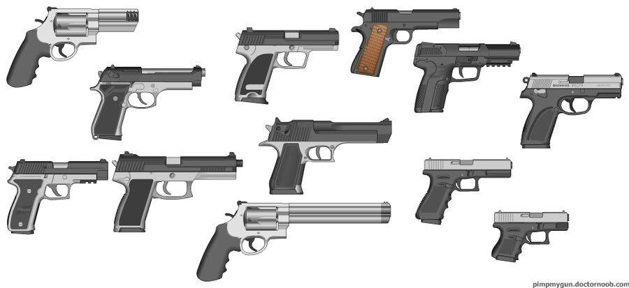 Pistols Galore top row: S&W  38 special, Beretta M9, USP