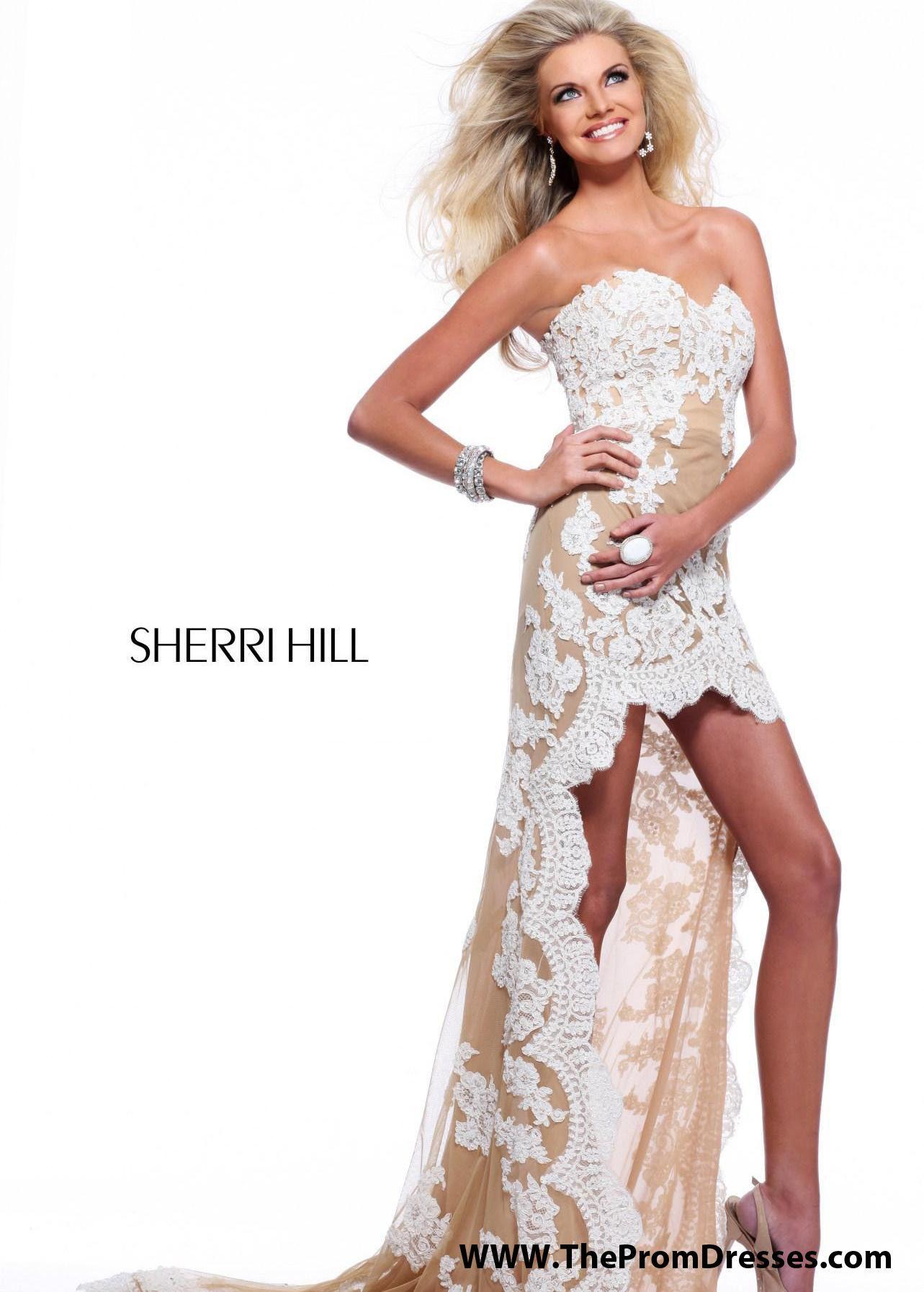 Sherri hill ivory sweetheart high low prom dresses online