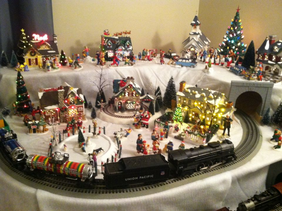 Trains Around The Christmas Tree Part - 36: 2015 Dept 56 Snow Village And Lionel Train Layout Around The Christmas Tree