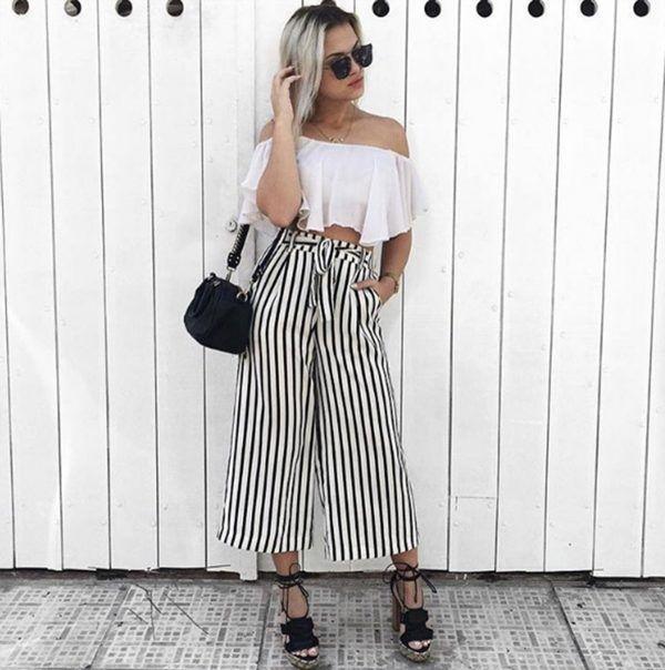 27 Outfits Con Pantalon Palazzo Corto 2018 Fashion Outfits Verano Outfits