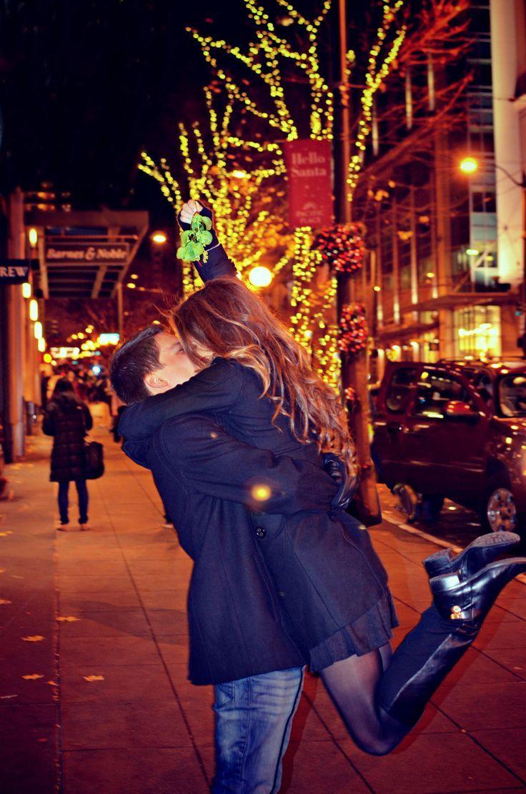 Kiss Under Mistletoe Couple Posing Groom Poses Poses