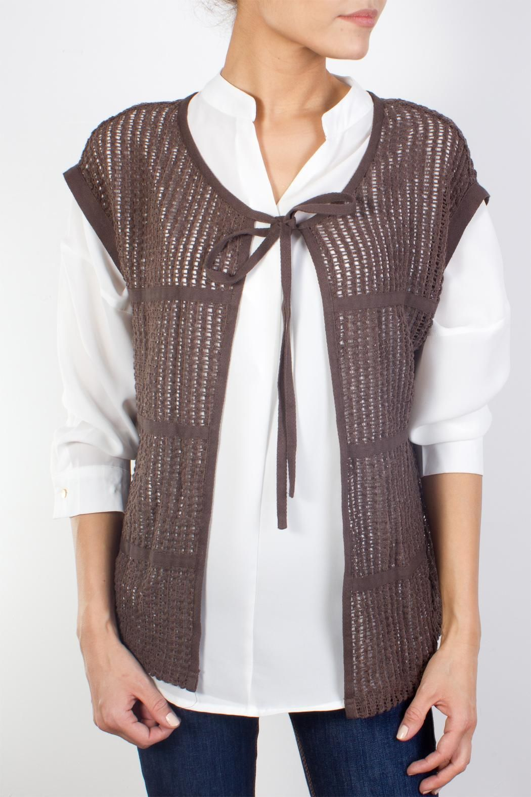 Semi transparent crochet cardigan in a straight model with short ...