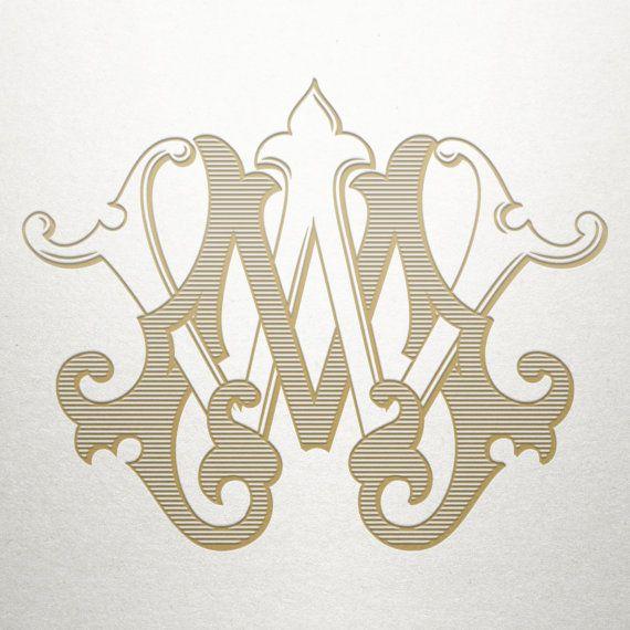 Custom Wedding Monogram Mw Wm Vintage