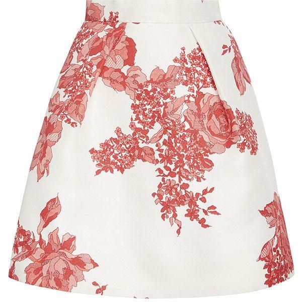 Monique Lhuillier Rose Print Gazar Full Pleated Skirt (5.715 BRL) ❤ liked on Polyvore featuring skirts, high waisted pleated skirt, pleated a line skirt, high waisted mini skirt, white a line skirt and white skirt
