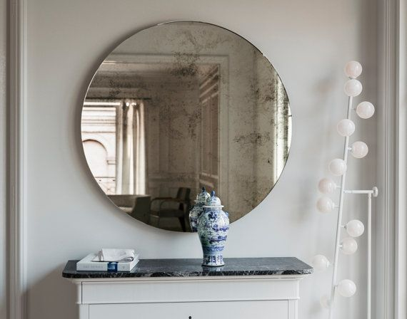 Frameless Mirror 1920s Inspired Art Deco Glass Hanging Wall Mirror With Antique Glass Mirror And Geometric Style Round Hanging Wall Mirror Mirror Wall Hanging Wall Mirror Art Deco Mirror