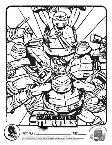 nickelodeon tmnt coloring pages mcdonalds happy meal nickelodeon teenage mutant ninja turtles