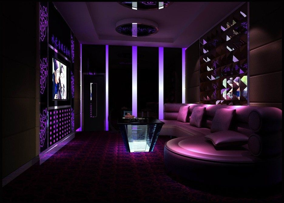 Purple ktv room interior design 3d k tv pinterest for Karaoke room design ideas