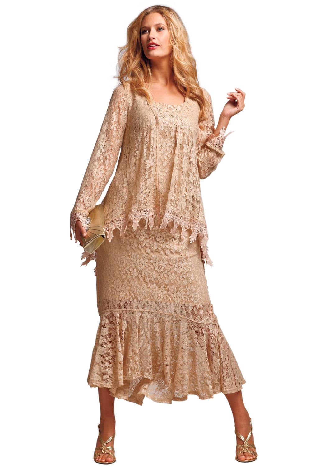Feminine aline lace jacket dress plus size wedding roamans
