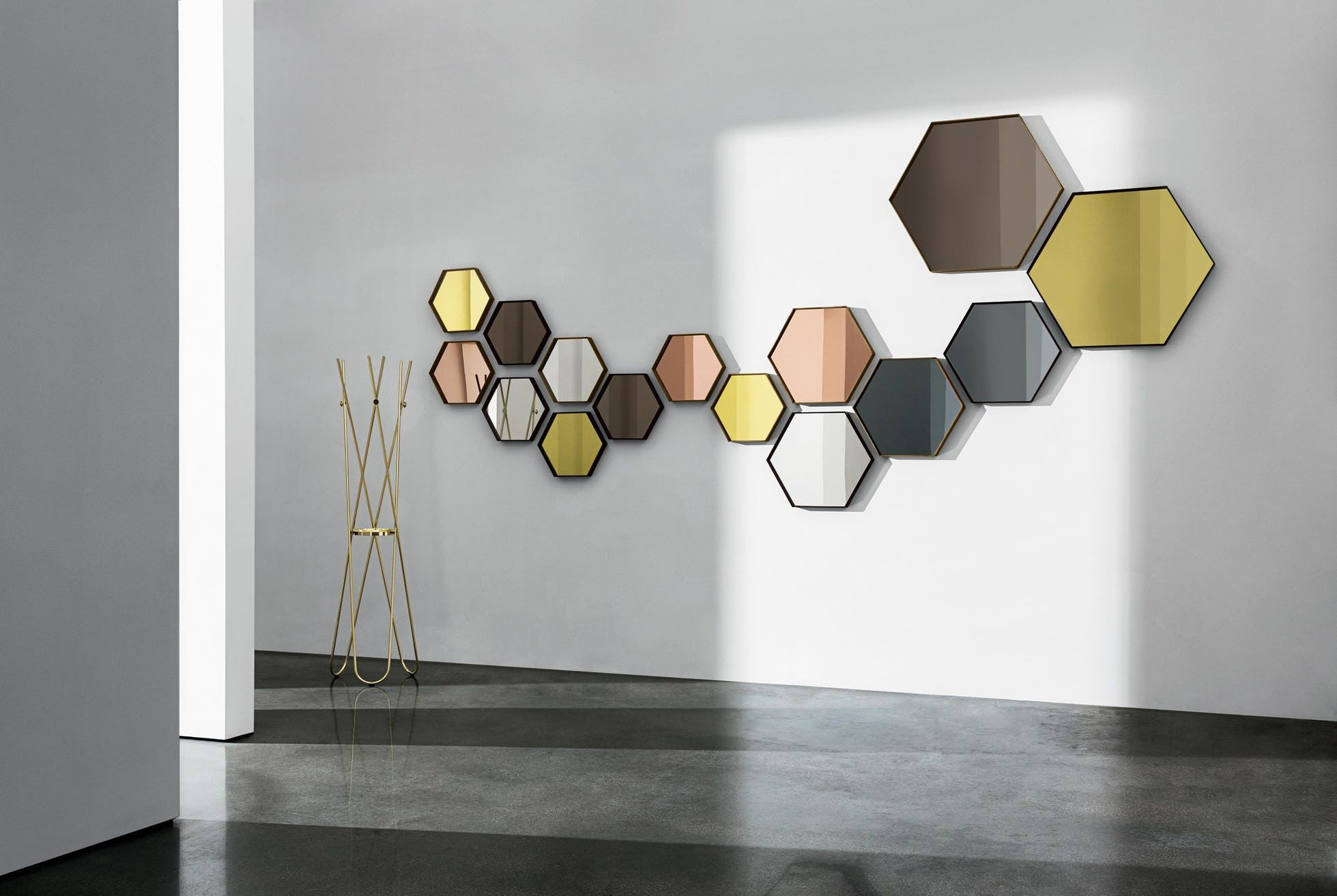Hexagonal Visual Mirror by SOVET, now available at Haute