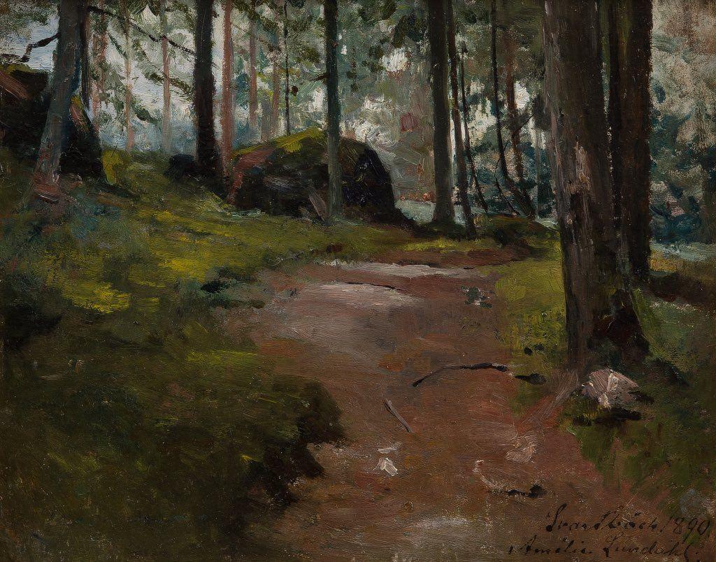 Amelie Lundahl (1850-1914) Metsäpolku purolassa Forest Path in Purola.#FinnishArt pic.twitter.com/Xe82dvhvEw