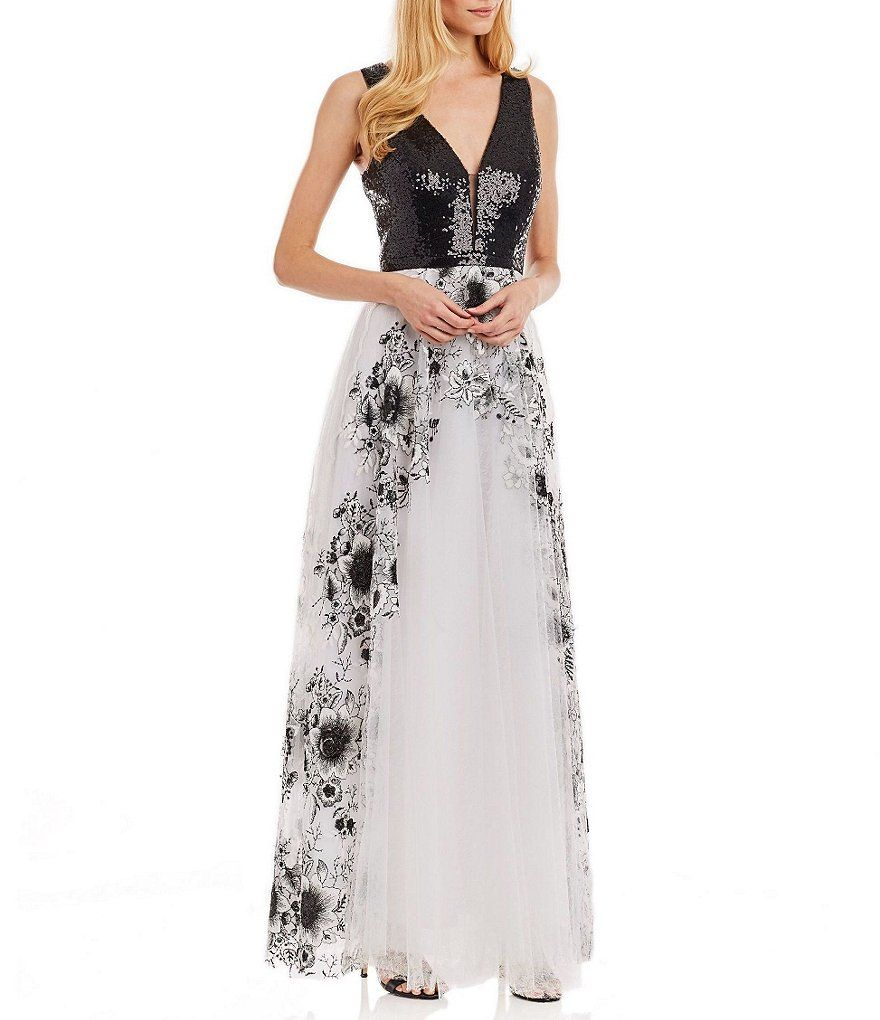 Nicole Miller New York Sequin-Bodice Embroidered Sleeveless Gown ...
