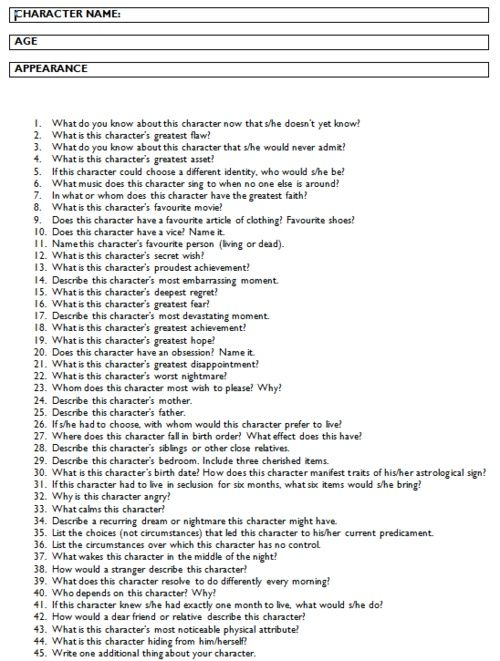 A good list of questions to get to know your characters better