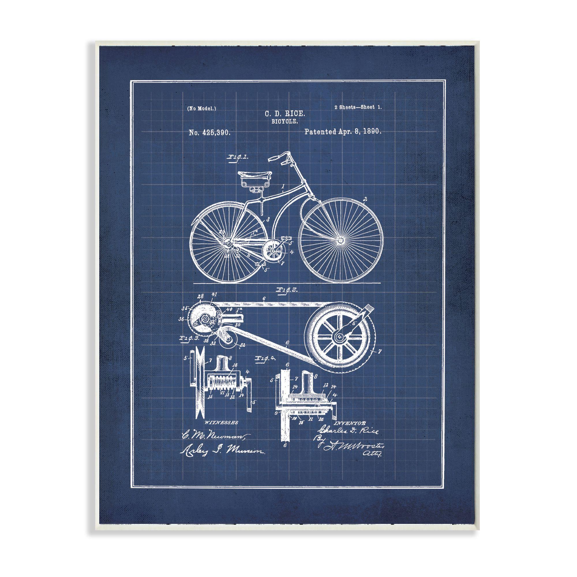 Stupell jo moulton vintage bike blueprint wall plaque art stupell jo moulton vintage bike blueprint wall plaque art malvernweather Images