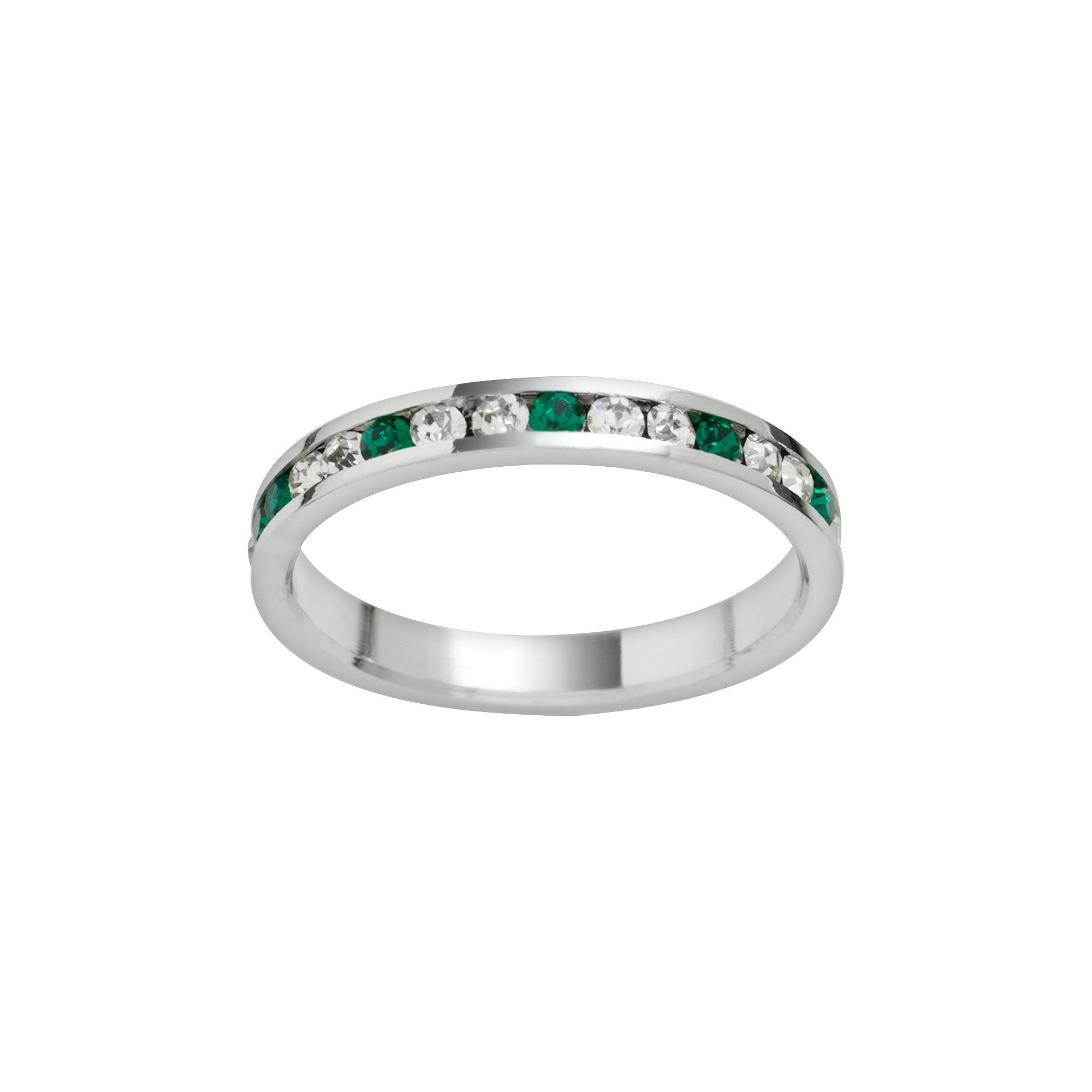 1818ab2b7 Traditions Sterling Silver Green and White Swarovski Crystal Eternity Ring,  Women's, Size: 6