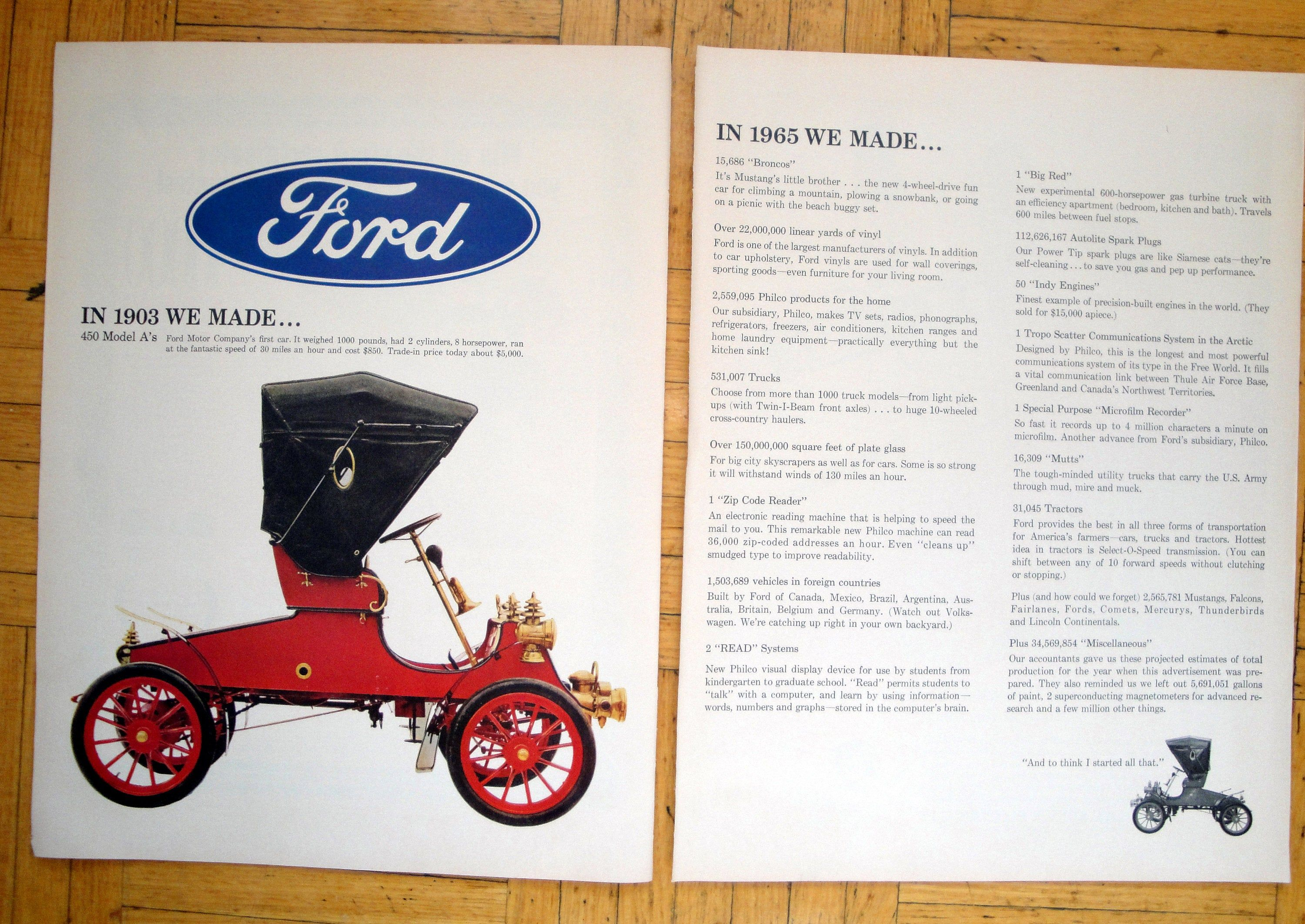 1966 Ford Featuring 1903 Model A 8 Hp Original 2 Page 13 5 10 5 Magazine Ad Ford Ford Motor Company Ford Motor