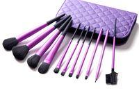 11 piezas de alta calidad bursh pelo de cabra Maquillaje de cepillo del maquillaje del kit del cepillo del maquillaje cosmético con el bolso H1187P