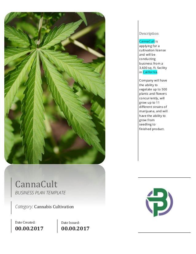 Cannabis Cultivation Business Plan Template G-110 Pinterest