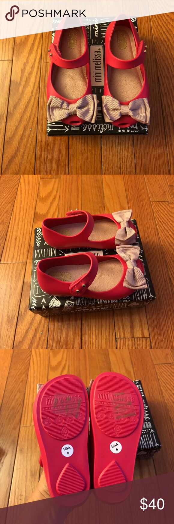 Hot pink dress shoes  Mini Melissa ribbon bow shoes New in box with dust bag for toddler