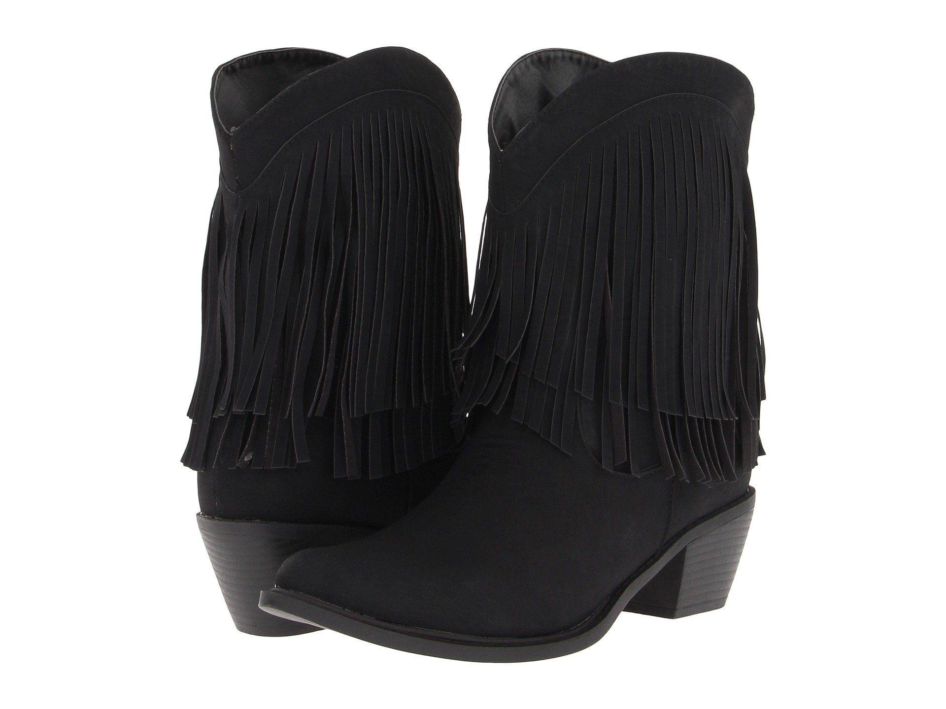 Roper 8 Fringe Boot Black Fringe Women