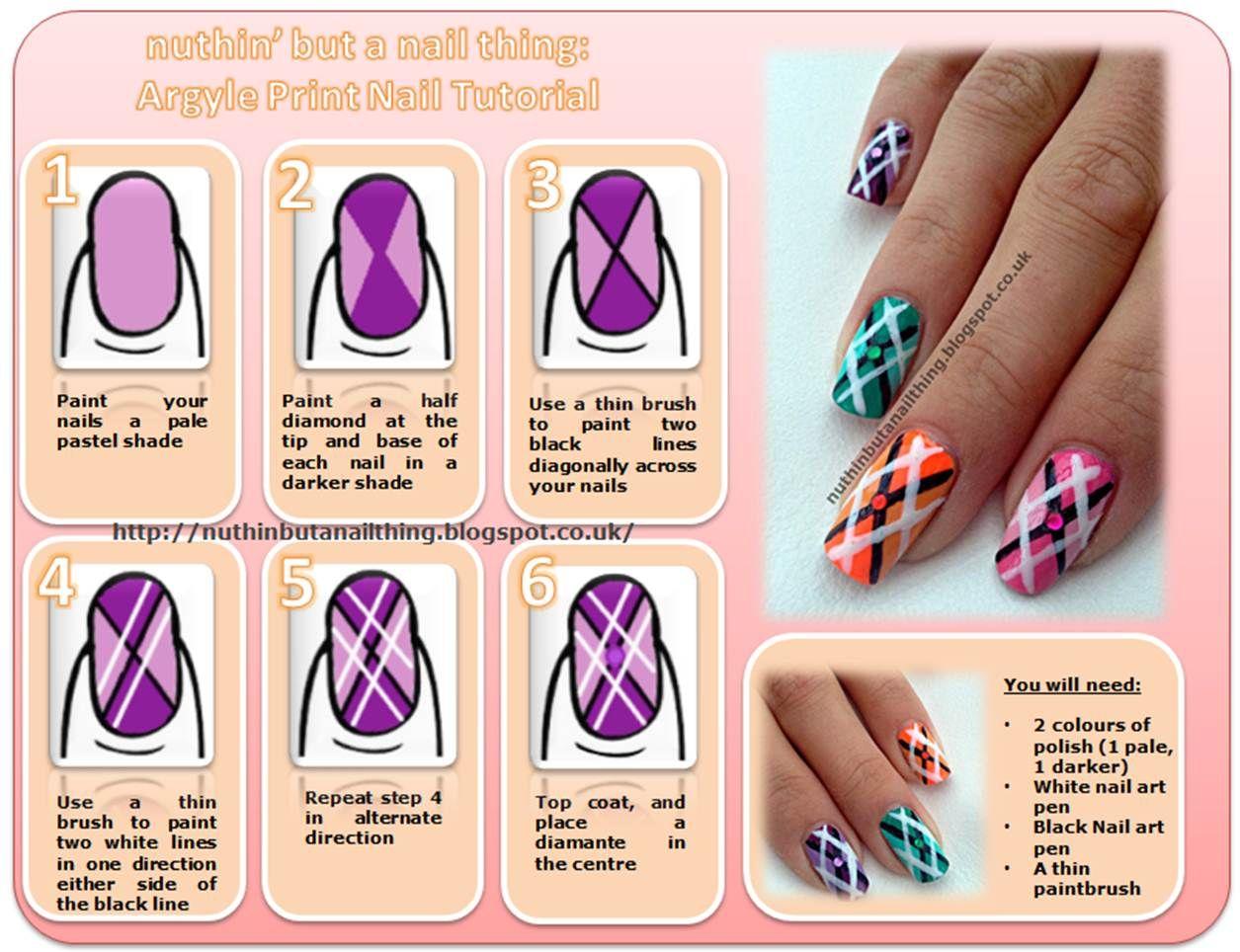 Argyle nail tutorial nägel pinterest argyle nails tutorials