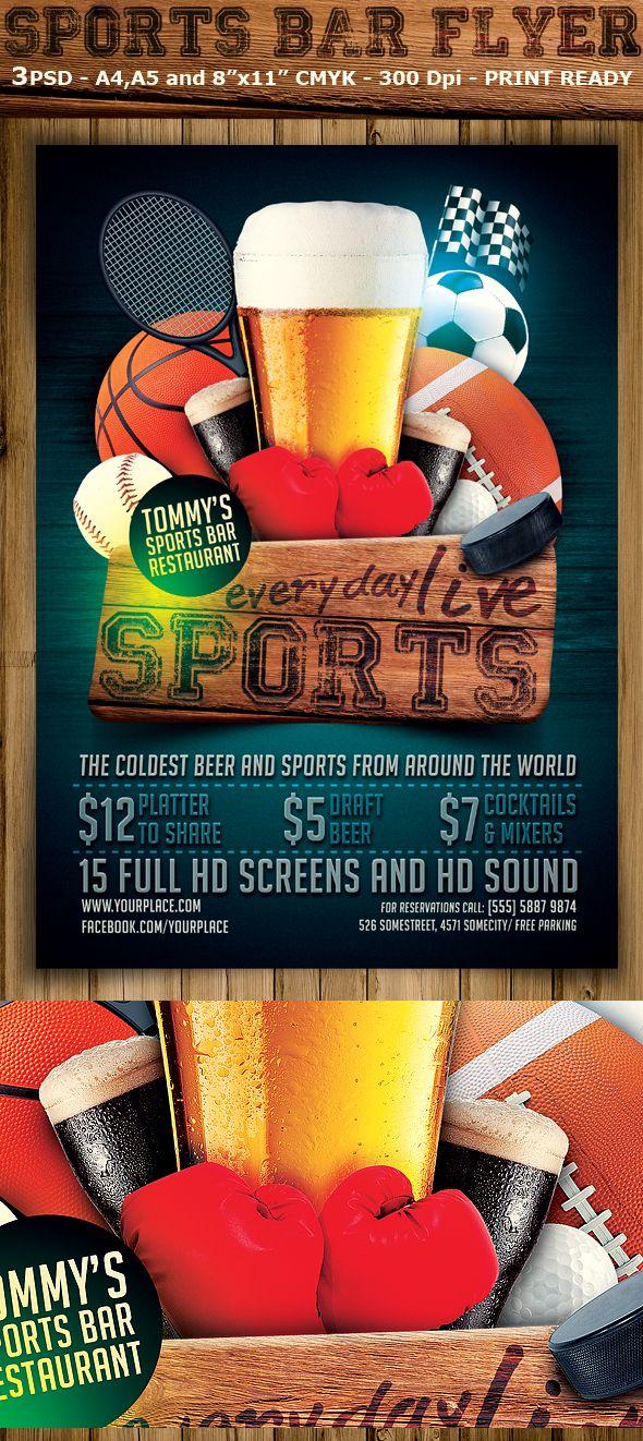Sports Bar Flyer Template On Behance Sport Bar Pinterest