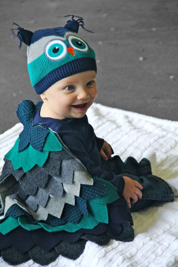 baby owl costume baby halloween costume bodysuit wings cape hat custom order boys girls upcycled wool size 3 6 9 12 months - Baby Owl Halloween Costumes