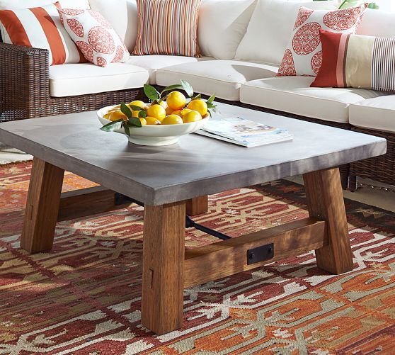 Abbott Concrete Top Square Coffee Table Pottery Barn - Pottery barn concrete coffee table