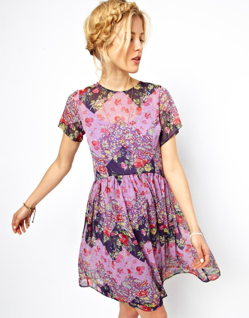 Image 1 of ASOS Smock Dress In Patchwork Print   Sewing Inspiration ...