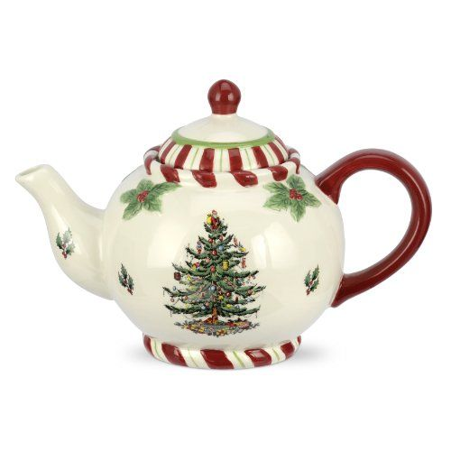 Spode Christmas Tree Peppermint Teapot with candy cane or