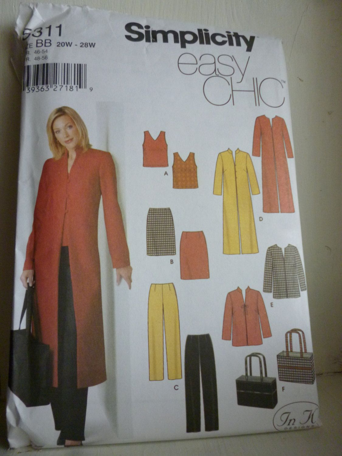 Simplicity 5311 Easy Chic Misses Coat or Jacket, Skirt, Top, Pants ...