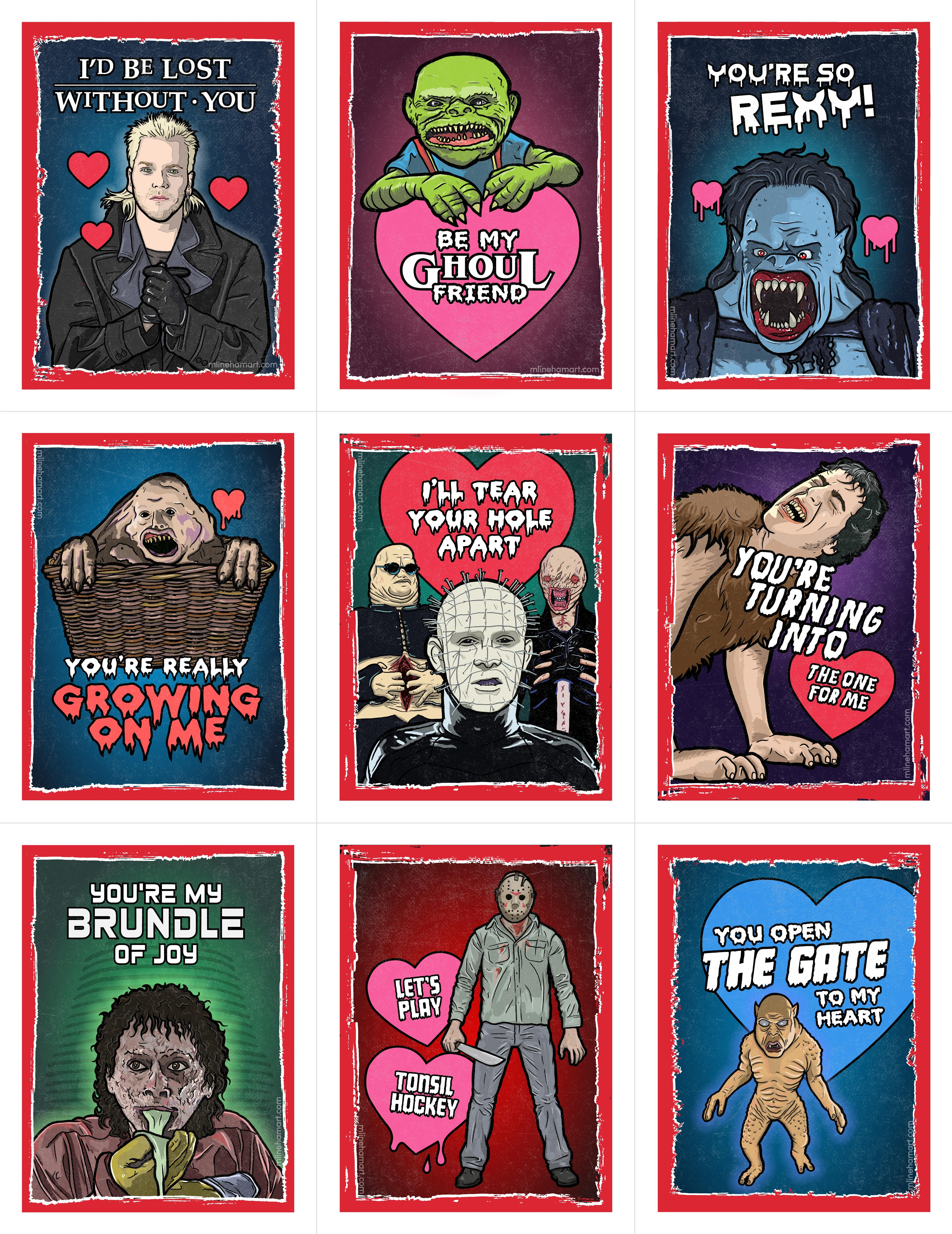 The 2017 80\u0027s Horror Valentine\u0027s Day Card Pack is perfect for sharing with  your loved ones, friends and coworkers on Valentine\u0027s Day!